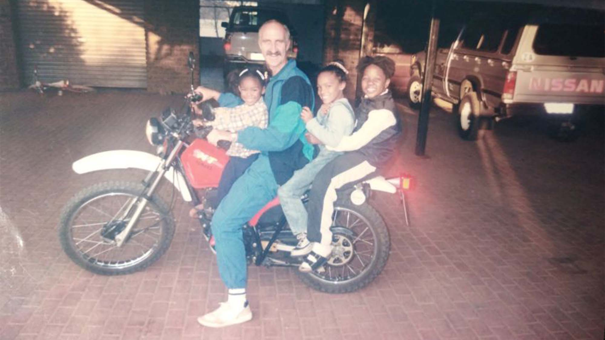Wilco and their family on their motorbike provided by God.
