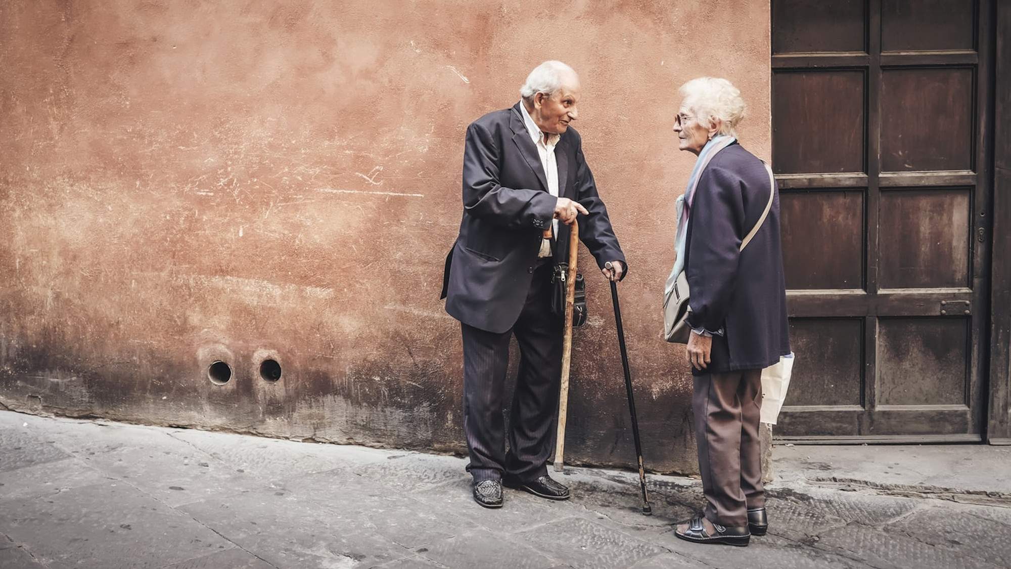 Elderly people on street