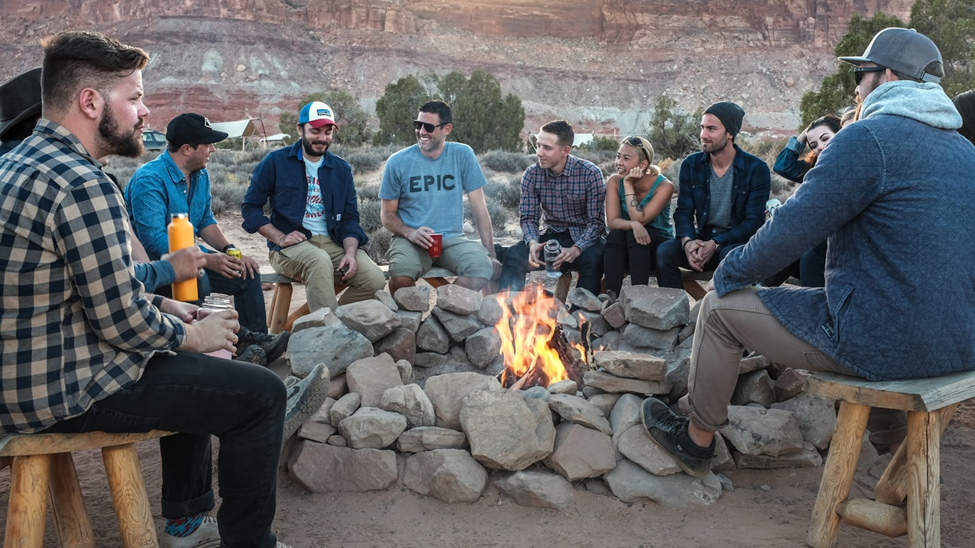 Team around the campfire